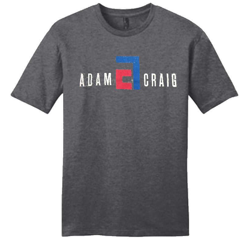 Adam Craig Heather Charcoal Logo Tee